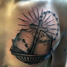 Top 103 Rosary Tattoo Ideas [2020 Inspiration Guide] Bible Quote Tattoos, Biblical Tattoos, Bible Verse Tattoos, Book Tattoo, Bible Quotes, Arm Tattoos For Guys, Trendy Tattoos, New Tattoos, Tattoos For Women
