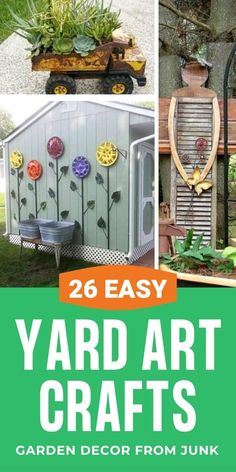26 DIY Yard Art crafts and home decor garden Ideas! Add color and joy to a garden, porch, or yard with repurposed bikes, toys, tires and other fun junk. Diy Garden Projects, Garden Crafts, Diy Garden Decor, Art Projects, Homemade Garden Decorations, Recycled Garden Art, Outdoor Garden Decor, Outdoor Crafts, Yard Decorations