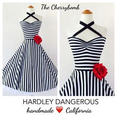 Black & White Striped Cherrybomb Halter Dress / Tim Burton