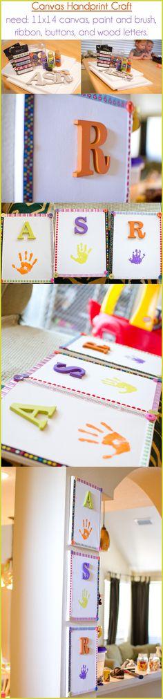 handprint, paint, canvas craft :) super easy keep sake!