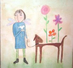 Folk art girl angel dog dove and a flower naive by ciennamoss, $20.00