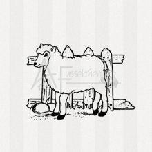 Motivstempel - Schaf am Zaun 01 (gr)