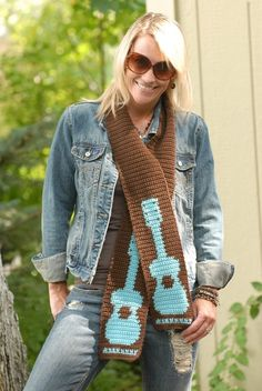Now who would I make this for I wonder-Rockin' Guitar Scarf Crochet PATTERN  INSTANT DOWNLOAD by bearsy43, $2.99