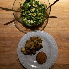 Aardappels met champignons en kruiden
