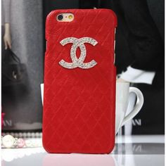 Coque Chanel iPhone 6 Plus,Housse Bling Strass iPhone6 5.5-rouge 2