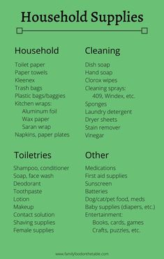 Household & food supplies (stock up lists) - Family Food on the Table Emergency Preparedness Food, Emergency Preparation, Emergency Supplies, Survival Food, Survival Prepping, Survival Skills, Family Emergency, Survival Supplies, Survival Shelter