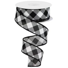 Diagonal Check On Royal Ribbon: White & Black Yards) Christmas Material, Wreath Supplies, Trendy Tree, Wired Ribbon, Diamond Design, Outdoor Projects, Sale Items, Yards, Holiday Decor