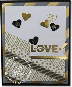 Stampin Up Love You to the Moon Valentine  Card featuring Gold Fancy foil Vellum, Watercolor Wonder washi tape, Gold Sequins and more from the Occasions catalog. Details on blog. #stampinup