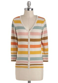 Charter School Cardigan in Froyo - Mid-length, Multi, Blue, Pink, Brown, White, Stripes, Buttons, Work, Casual, 3/4 Sleeve, 70s, Top Rated
