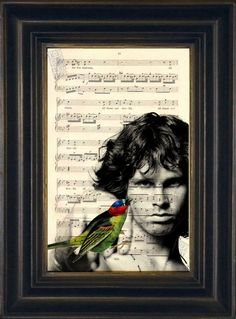 Jim Morrison with Bird Altered Image on upcycled by ForgottenPages, $8.00