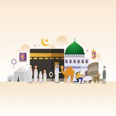 Eid Adha Mubarak With Tiny People Character Design Concept Hajj And Umrah Season Saudi National Day Saudi Arabia National Day Vector and PNG Eid Adha Mubarak, Eid Mubarak Vector, Ied Mubarak, Eid Ul Adha Images, Eid Images, Mubarak Images, Vector Character, Character Design, Muslim Celebrations
