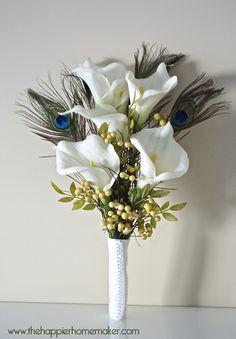 Vintage Inspired Ribbon Flower Wedding Bouquet