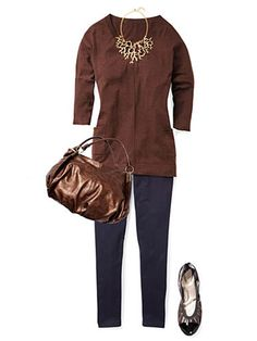 A tunic-style sweater and dainty ballet flats keep the look lean.