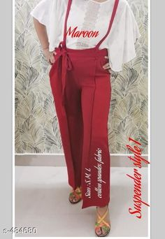 Trousers & Pants Stylish Cotton Spandex Women's Trouser  Fabric: Cotton Spandex Waist Size: S - Up To 30 in To 32 in M - Up To 34 in To 36 in L - Up To 38 in Length: Upto 39 in Type: Stitched Description: It has 1 Piece of Trouser Pattern: Solid Country of Origin: India Sizes Available: XS, S, M, L   Catalog Rating: ★4 (377)  Catalog Name: Self Tie Partywear Cotton Spandex Palazzos Vol 2 CatalogID_53150 C79-SC1034 Code: 224-484680-2511