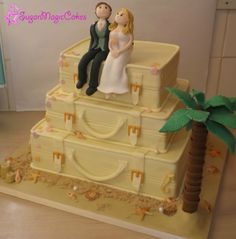 Suitcases on the beach cake! My first wedding cake :-)