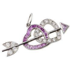 ae530ec84 Tiffany & Co. Platinum, Diamond & Pink Sapphire Hearts and Arrow Pendant  Pink Sapphire