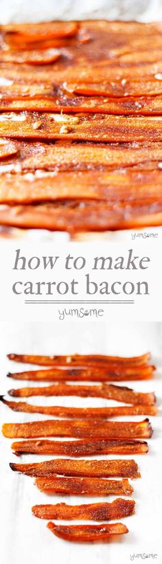 This delicious, easy-to-make vegan bacon substitute is made from carrots and five other store cupboard ingredients. Perfect for those who miss those crispy bacon rolls. This vegan alternative to bacon will keep all your vegan friends happy Veggie Recipes, Whole Food Recipes, Vegetarian Recipes, Cooking Recipes, Dishes Recipes, Bacon Recipes, Vegetarian Bacon, Carrot Recipes, Carrot Bacon Recipe