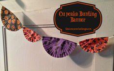 Cutesy Cupcake Cup Bunting Banner {Dollar Store Halloween Craft}