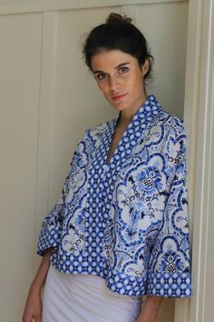 ***NOTE: this listing is for a PDF pattern and tutorial. This is not a finished piece.*** The Atelier Joy Collage Kimono Jacket is adapted from our extremely popular Kimono Robe. An elegant, versatile layering piece that can be worn with separates or dresses. Can be stitched up in a short