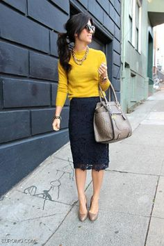 navy blue or black lace pencil skirt mustard yellow shirt nude purse nude heels