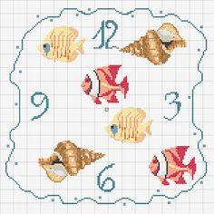 Schema punto croce Orologio Conchiglie