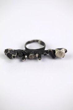 Camille Walton, oxidized silver sculpture ring