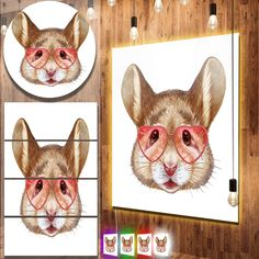 Designart 'Funny Mouse with Heart Glasses' Modern Animal Metal Wall Art