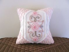 ♡ pink pillow cover PINK ROSES cushion cover by moreChenilleChateau