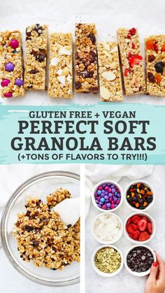 These homemade soft granola bars are loaded with goodies and naturally sweetened. A perfect healthy snack or school lunch idea! Granola Sin Gluten, Vegan Granola Bars, Granola Barre, Healthy Bars, Gluten Free Recipes Healthy Snacks, Healthy Homemade Granola Bars, Gluten Free Lunch Ideas, Snacks Recipes, Healthy Lunches