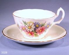 Royal Stuart Asters Vintage Bone China Tea Cup and Saucer