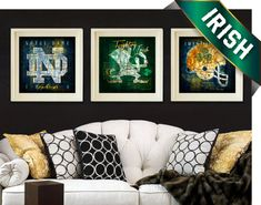 Notre Dame Fighting Irish Maps - 3-pc Combo Set with Fight Song - Perfect Birthday, Anniversary, Father's Day Gift - Unframed prints, $49.50