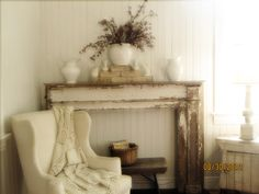 Using an old chippy fireplace mantel to make a statement in any room.  for more photos go to www.littleputtylittlepaint.blogspot.com