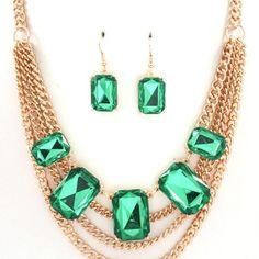 Emerald Multi-Layer Necklace Set