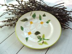 Decorative Ceramic Plate with Magnolia Blossoms by lookonmytreasures on Etsy
