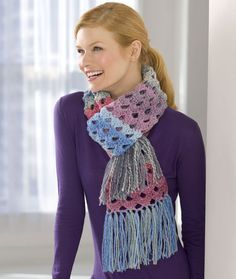 Shaded Shells Crochet Scarf ~ would like this in a solid color & no fringe :)
