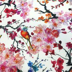 Tissu de coton japonais Gunma : jardin japonais, oiseaux et fleurs de cerisier Chinese Patterns, Japanese Patterns, Gunma, Kyoto, Japanese Embroidery, Japanese Paper, Textured Wallpaper, Anime Artwork, Animal Drawings