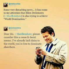 Dear Ms. @theellenshow, please consider this a cease & desist memo.  I've already laid claim to the world, you're free to dominate elsewhere. #meanwhilemisha