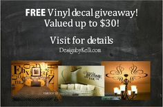 Follow Design by Kelli on FB and Pinterest and you could win!