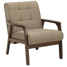 KIA SCANDI STYLE ARMCHAIR (FABRIC) BROWN6109 CUSHION / WALNUT FRAME  (AC054(F)