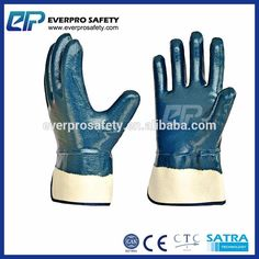 Heavy Duty Safety Cuff Jersey Liner Oil Resistant Blue Nitrile Constrcution Work Gloves