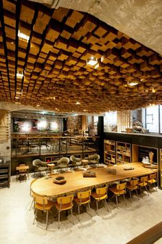 Restaurant And Cafe Design, Wood Block Ceiling Art: Wooden Element On Ceiling To Flooring In Amserdam Starbuck Cafe