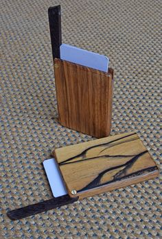 Both made from solid zebrawood, but one additionally lined with black & white ebony veneer. Closure clip from Wengé with a small iron screw inserted at the underside (sanded flush) that keeps the lid closed via a small neodymium magnet glued insid. Wooden Bag, Wooden Boxes, Card Wallet, Card Case, Neodymium Magnets, Business Card Holders, Building Ideas, Carpentry, Wood Art
