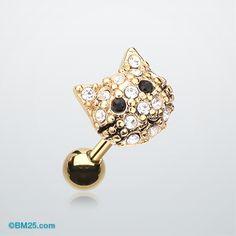 Golden Kitty Multi-Gem Cartilage Earring #piercing #tragus #bodymods #fashion #cat