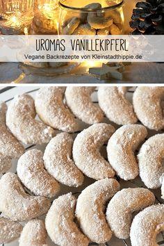 Uromas Vanillekipferl - the best! Vegan vanilla biscuits with walnuts , Vegan Vanilla Kipferl - These are the best Vanilla Kipferl ! I veganized and baked Uromas Vanillekipferl based on a recipe from. Easy Cookie Recipes, Cupcake Recipes, Dessert Recipes, Vanilla Biscuits, Cookies Et Biscuits, Vegan Christmas, Christmas Baking, Desserts Végétaliens, Vegan Sweets