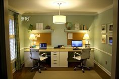 Home Office For Two People--love the bulletin boards and shelves.