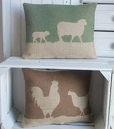 Farmyard Animals Collection of Cushions & Cushion Covers. UK Handmade and Hand Printed Cushions. Country Cushions, Farm Cushions, Hessian Crafts, Cushion Covers, Pillow Covers, Country Crafts, Country Farm, Sheep And Lamb, Printed Cushions