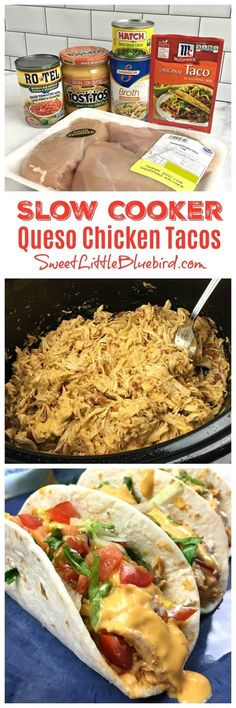 SLOW COOKER QUESO CHICKEN TACOS - Taco night just got a lot more flavorful with this SUPER EASY, delicious weeknight meal that makes the BEST chicken tacos! Only a few ingredients and minutes to throw together. Use the chicken for tacos, burritos, wraps and bowls. Perfect for feeding a crowd, parties and game day. #SlowCooker #CrockPot #ChickenTacos #Queso #Easy #Recipe #SweetLittleBluebird Mexican Food Recipes, Speggetti Recipes, Dinner Recipes, Chicken Recipes, Cooking Recipes, Lentil Recipes, Ethnic Recipes, Delicious Recipes, Crockpot Meals