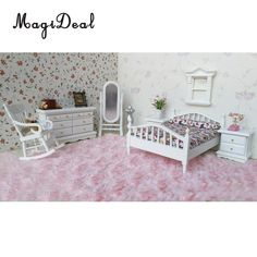 1:12 Dollhouse Miniature Metal European Retro Double Bed Bedroom Furniture Kids Birthday Kids Play Toys Black