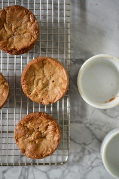 brown butter white chocolate blondes cookies in ramekins
