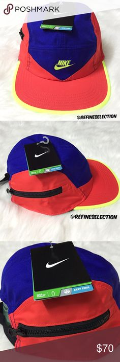 Nike Windrunner 5 Panel Adjustable Cap Brand new with tags, Adult Unisex, one size. Bring back the 80's and 90's with this Nike Windrunner Dri-Fit 5 Panel Adjustable Cap! Love the red, purple and fluorescent yellow color combination. Has a black zipper pocket. Adjustable in the back. This vintage / retro inspired hat will be the statement piece in your outfit! Discontinued and impossible to find, your chance to grab it here! Made of material similar to Nike Windbreaker jackets. Style AW84…
